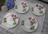 "Set of 4 Vintage Royal Standard ""Three Red Roses"" Dessert Plates"