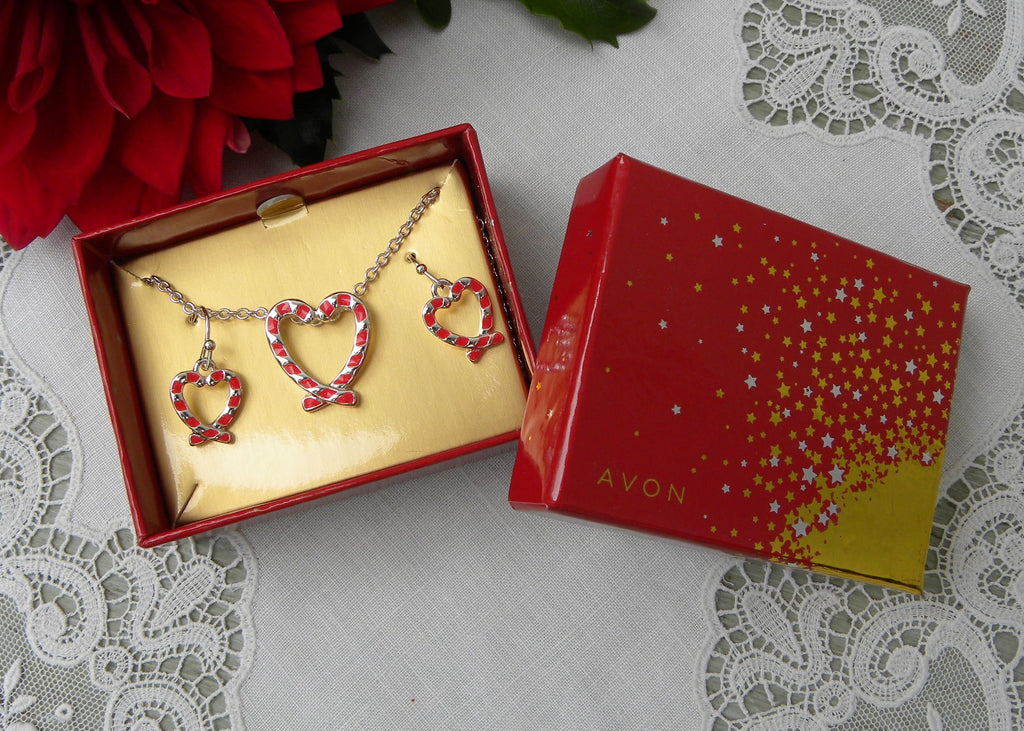 NIB Avon Candy Cane Heart Christmas Necklace and Earring Set - The Pink Rose Cottage