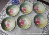 Set of 6 Vintage Deep Pink Rose Berry Bowls