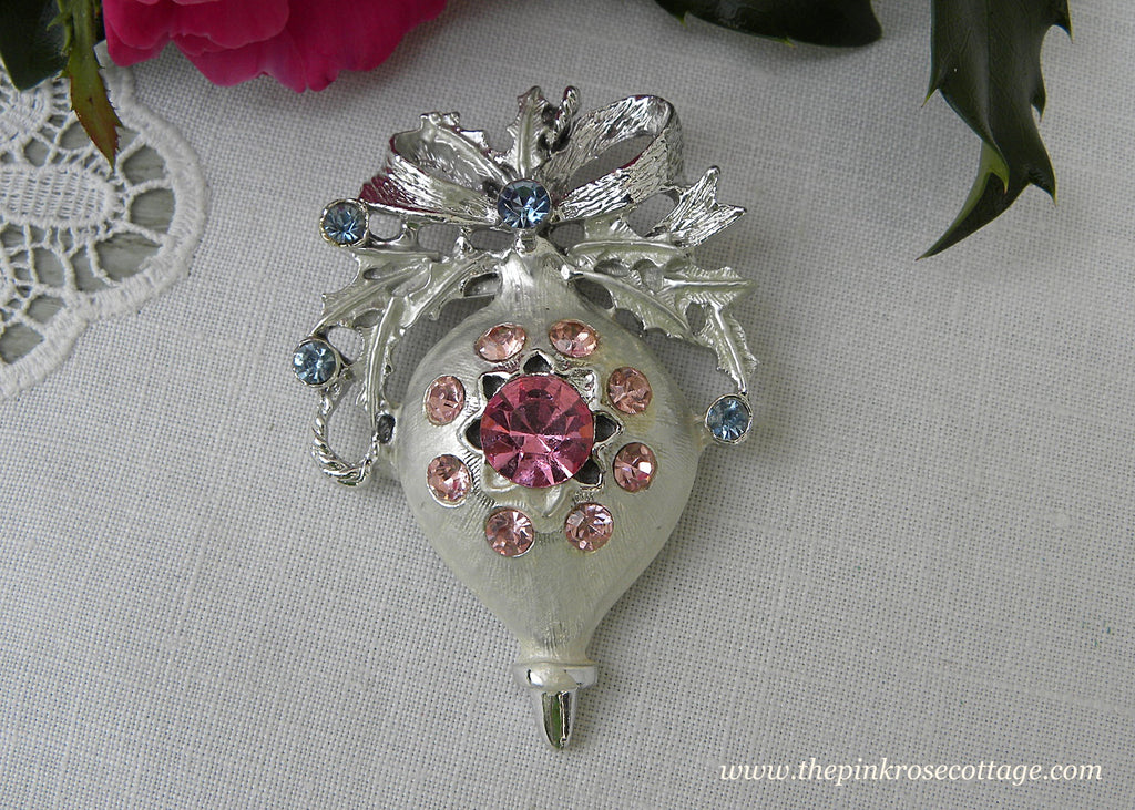 Vintage Pink and Blue Rhinestone Christmas Ornament Pin