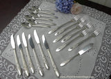 "19 Piece Vintage National Silver 1937 ""Rose & Leaf"" Silver Plate Flatware Set"