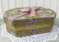 Antique Chocolates Easter Corsage Box with Irises and Purple Bow