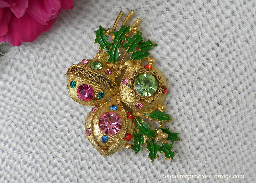 Vintage Rhinestone Christmas Ornament Pastel Colors Pin