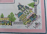 Vintage Sun Glo Tablecloth Pink Paris Street Scene Cafe Flower Shops and More