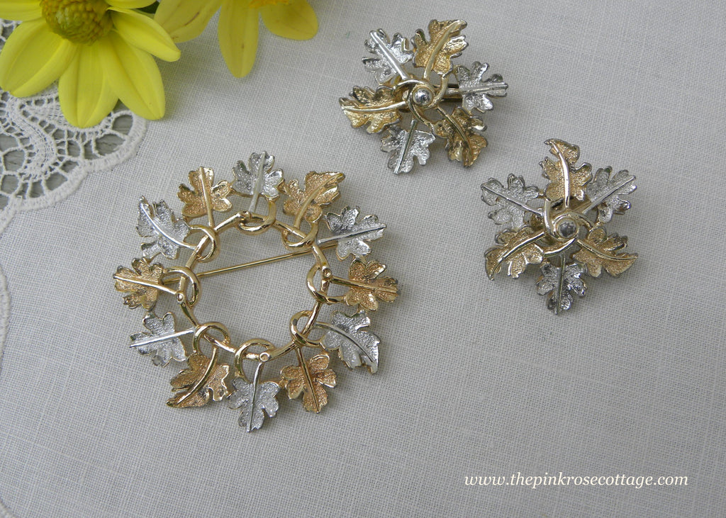 Vintage Sarah Coventry Autumn Leaves Fall Pin and Earring Set