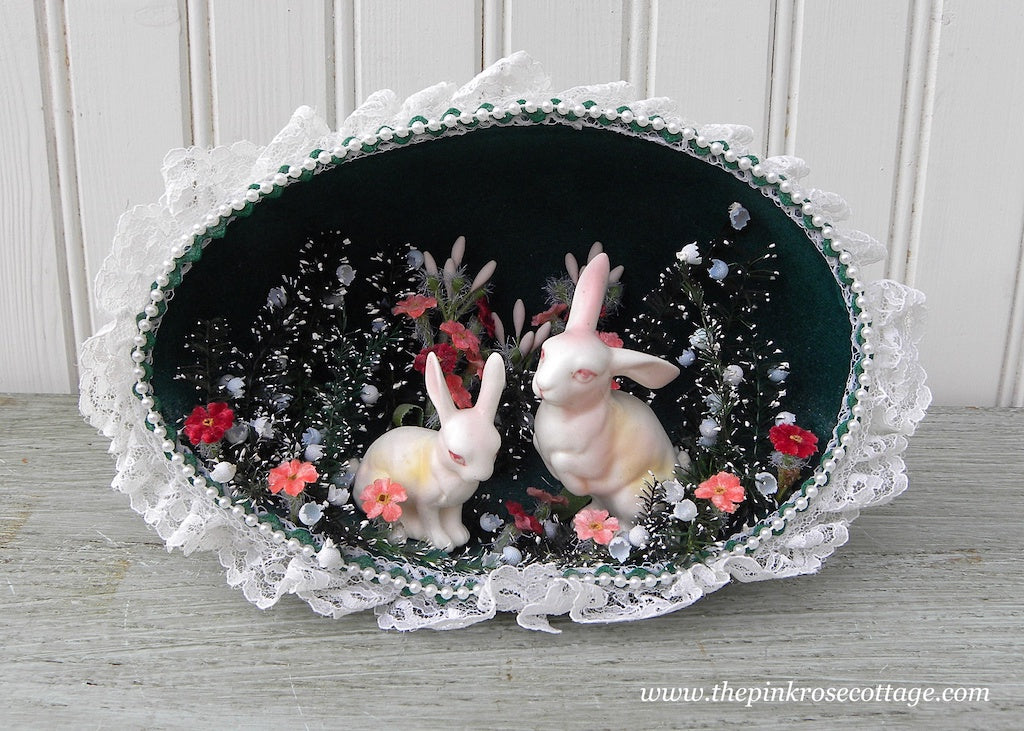Large Vintage Handmade Easter Bunnies Diorama Decoration