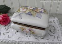 Vintage Hand Painted Dogwood and Blackberries Trinket Jewelry Box