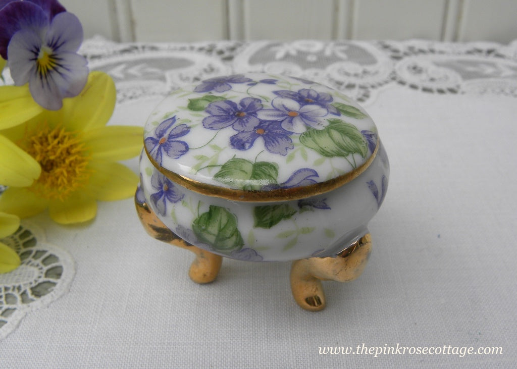 Vintage Purple Violets  Chintz Vanity Ring Round Trinket Box