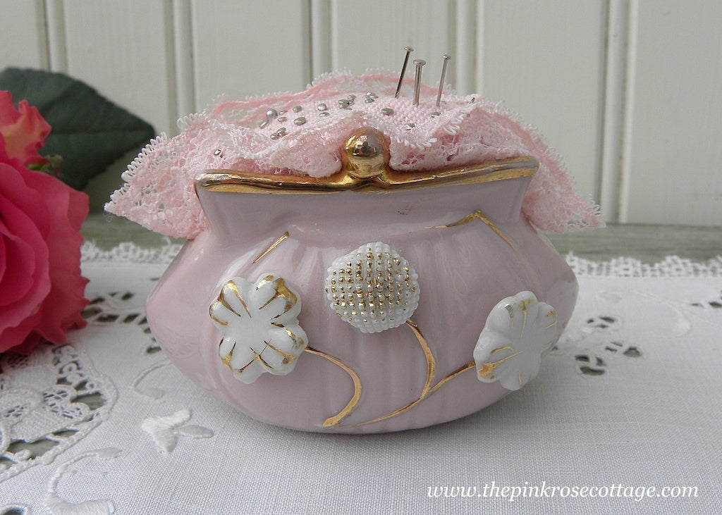 Vintage Pink Pin Money Purse Pincushion