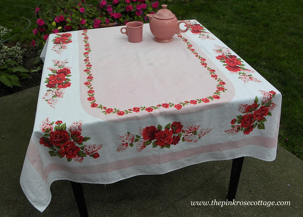 Vintage Swags Of Lilacs And Roses Tablecloth