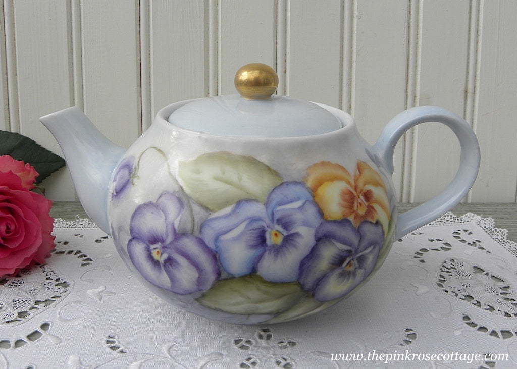 Vintage Hand Painted Teapot with Purple Pansies