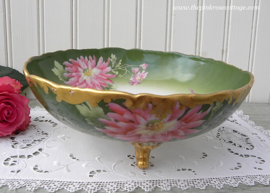 Vintage Hand Painted Chrysanthemum Footed Bowl