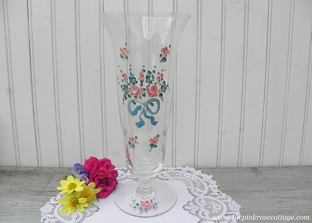 Tall Vintage Hand Painted Pink Rose and Blue Bow Vase - The Pink Rose Cottage
