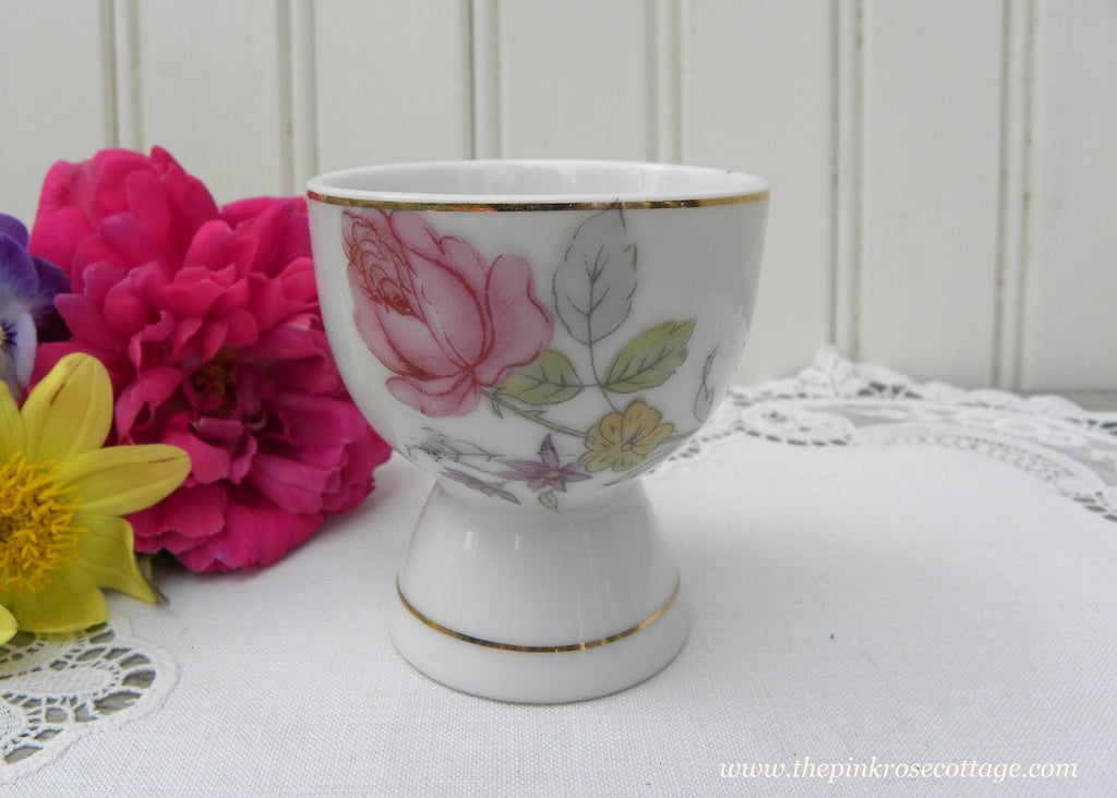 Vintage Pink Rose and Cottage Violet Eggcup