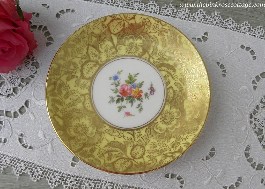 Vintage Minton Brocade Pink Rose with Yellow Teabag Holder Coaster Tidbit Dish