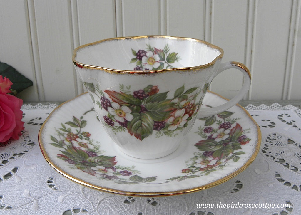 Vintage Blackberries and Blossoms Teacup and Saucer