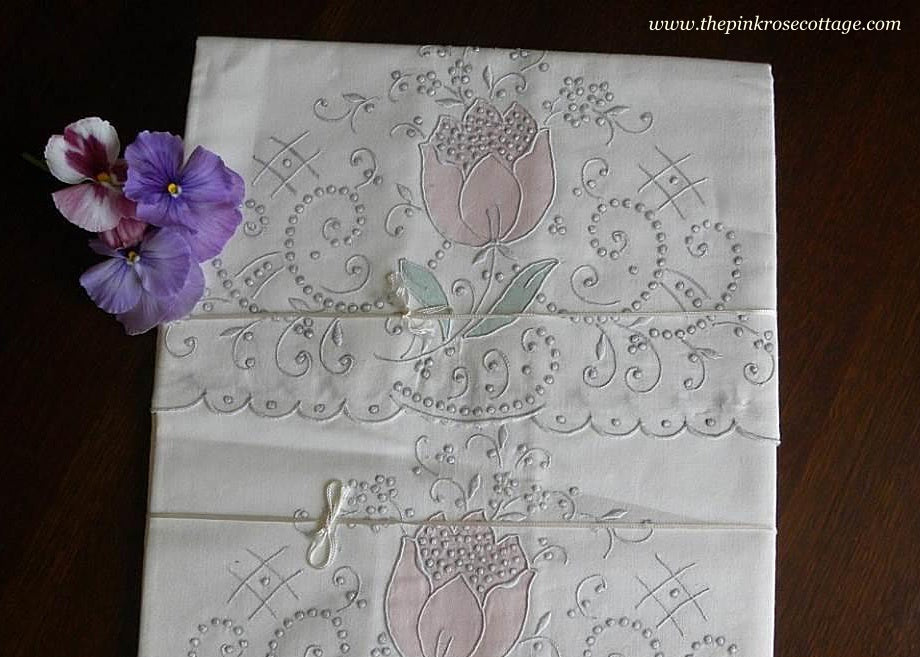 Unused Vintage Madeira Hand Embroidered Tulip Pillowcases - The Pink Rose Cottage