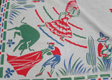 Vintage Mexican Bull Fighter and Dancing Lady Tablecloth