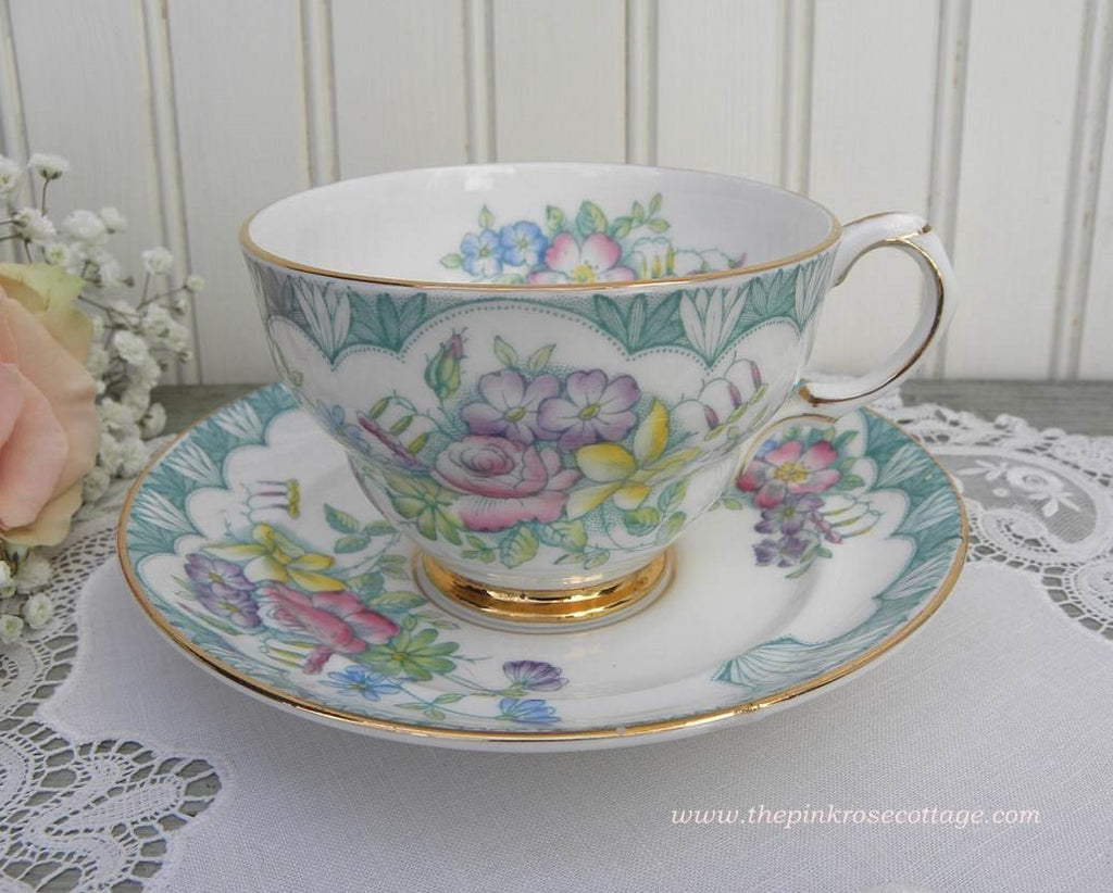 Vintage Teacup and Saucer Teal with Pink Roses and Daffodils - The Pink Rose Cottage