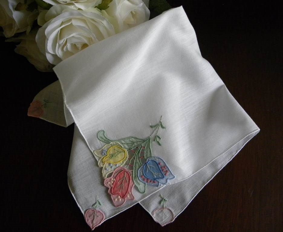 Vintage Madeira Appliquéd Colorful Tulip Handkerchief - The Pink Rose Cottage