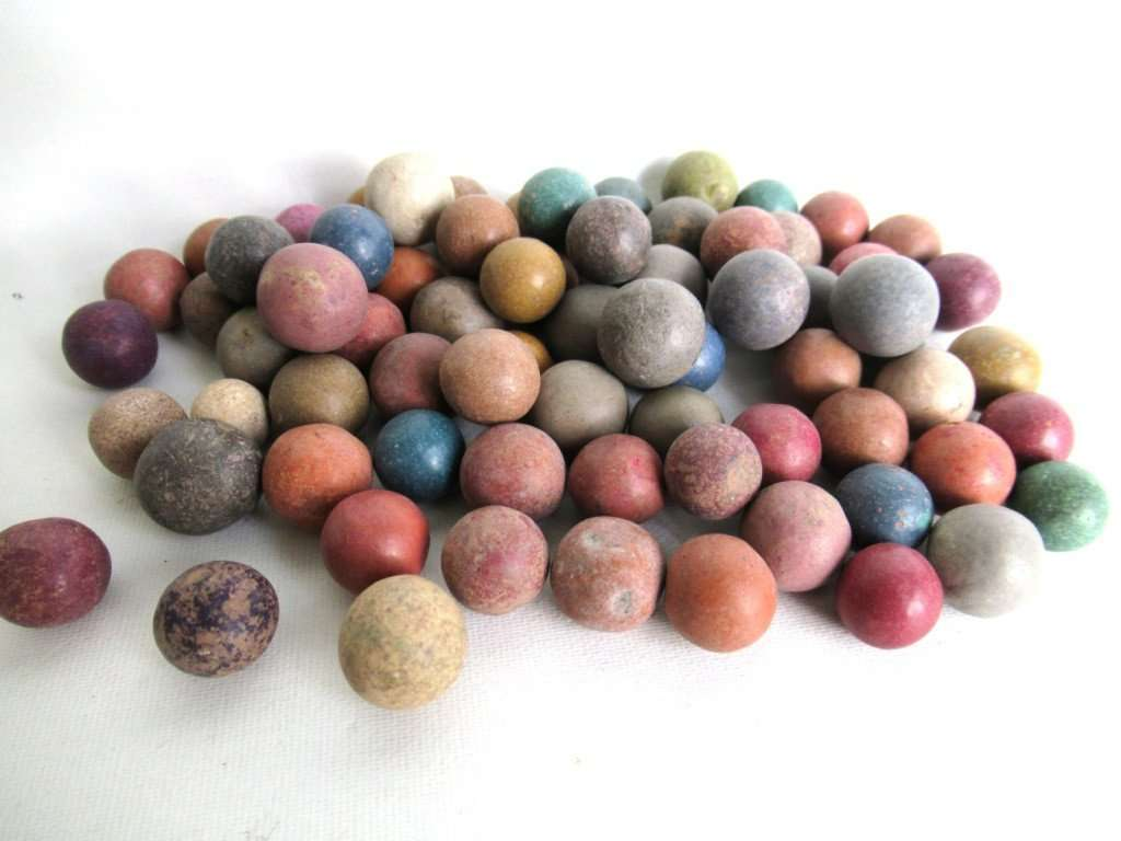 UpperDutch:Marbles,Clay Marbles, Set of 75 Antique Clay Marbles, old marbles.