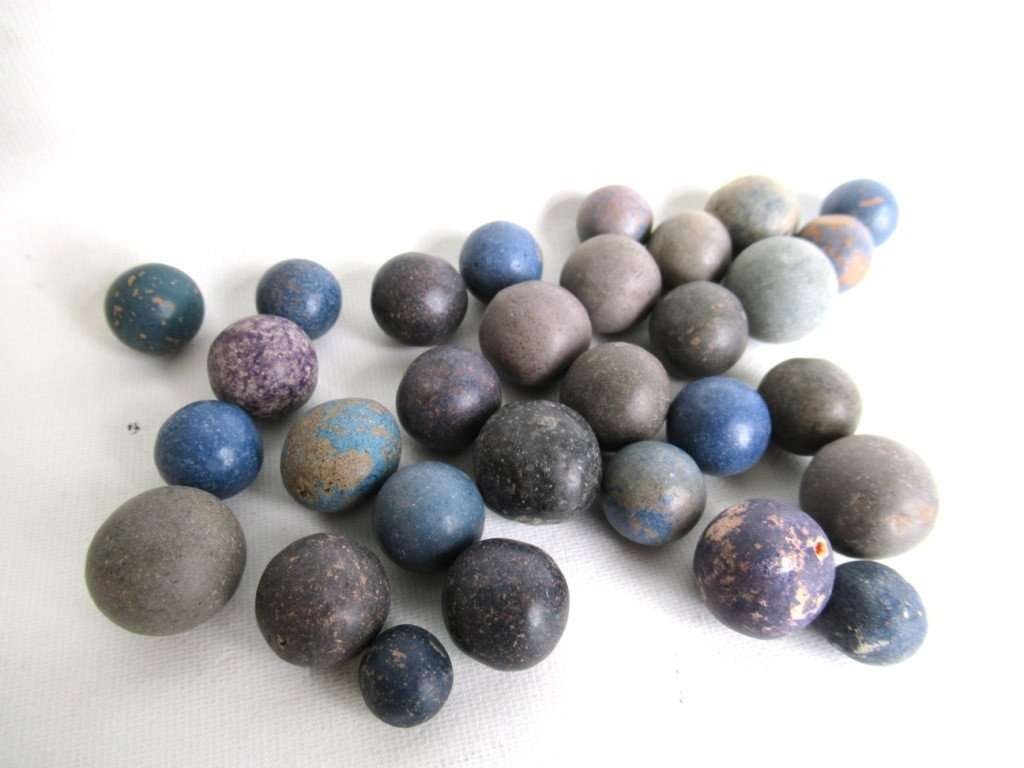 UpperDutch:Marbles,Clay Marbles, Set of 30 blue Antique Clay Marbles, Antique marbles.