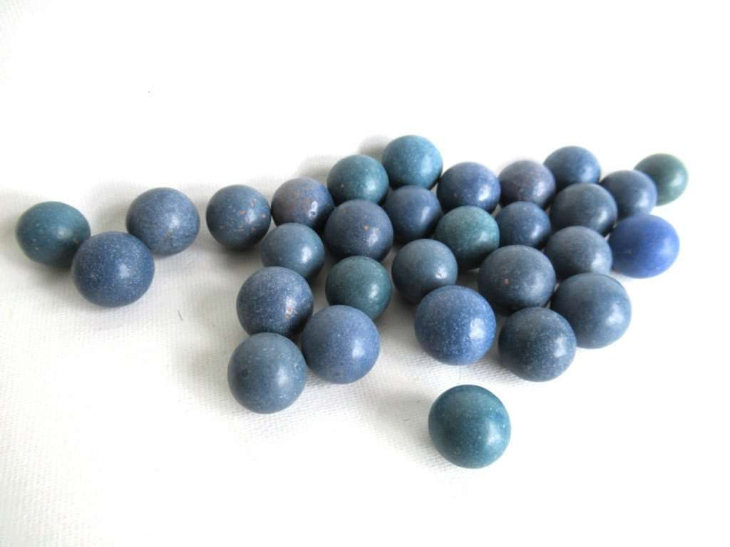 UpperDutch:Marbles,Blue Clay Marbles, Set of 30 Antique Clay Marbles, Antique marbles.