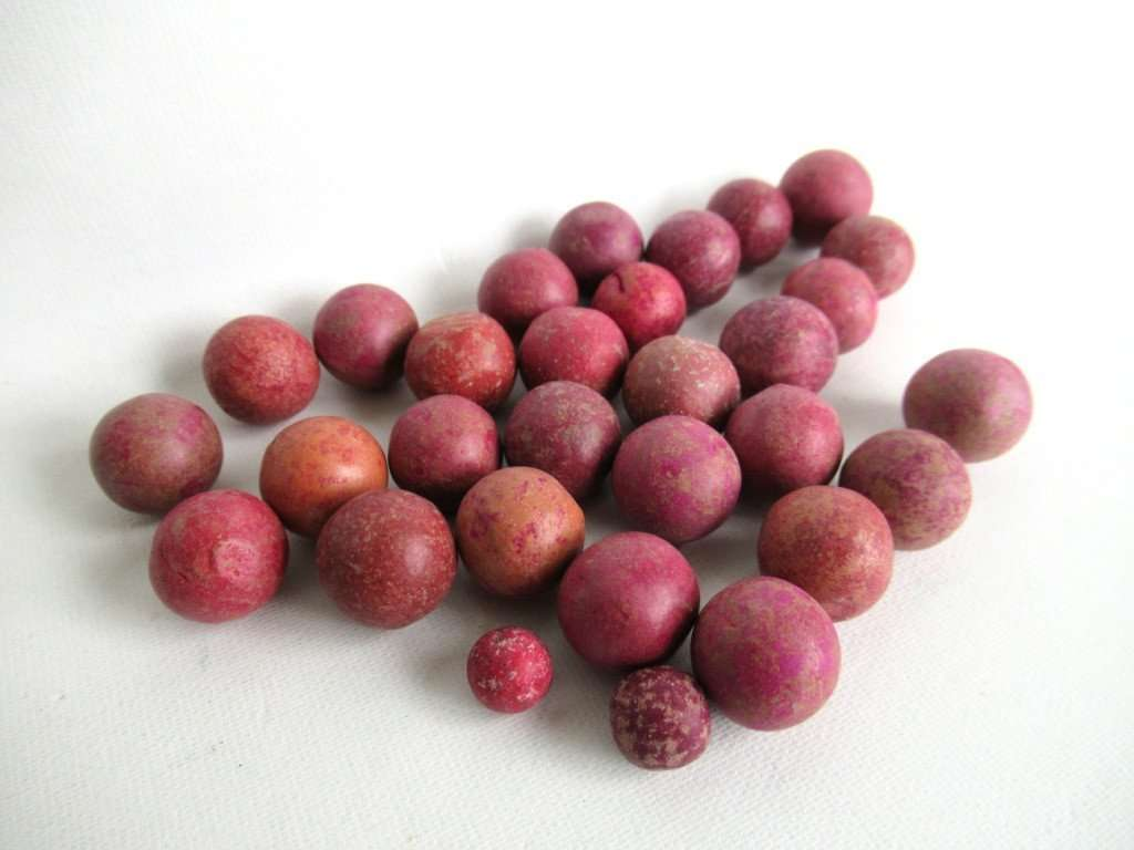 UpperDutch:Marbles,Clay Marbles, Set of 30 Pink Antique Clay Marbles, Antique marbles.