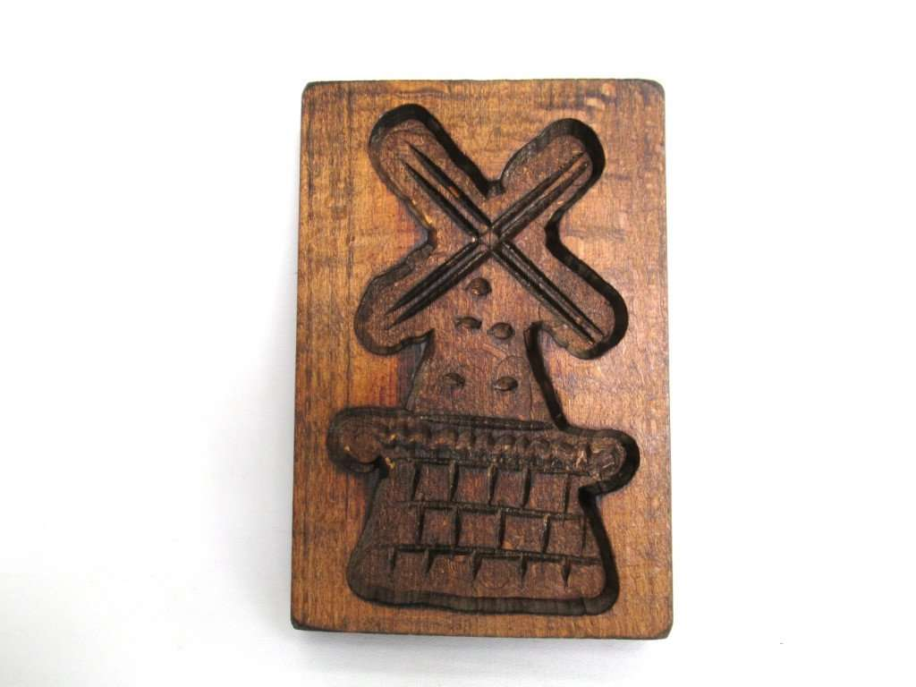 UpperDutch:Cookie Mold,Springerle mold, Vintage Small Windmill Wooden cookie mold.
