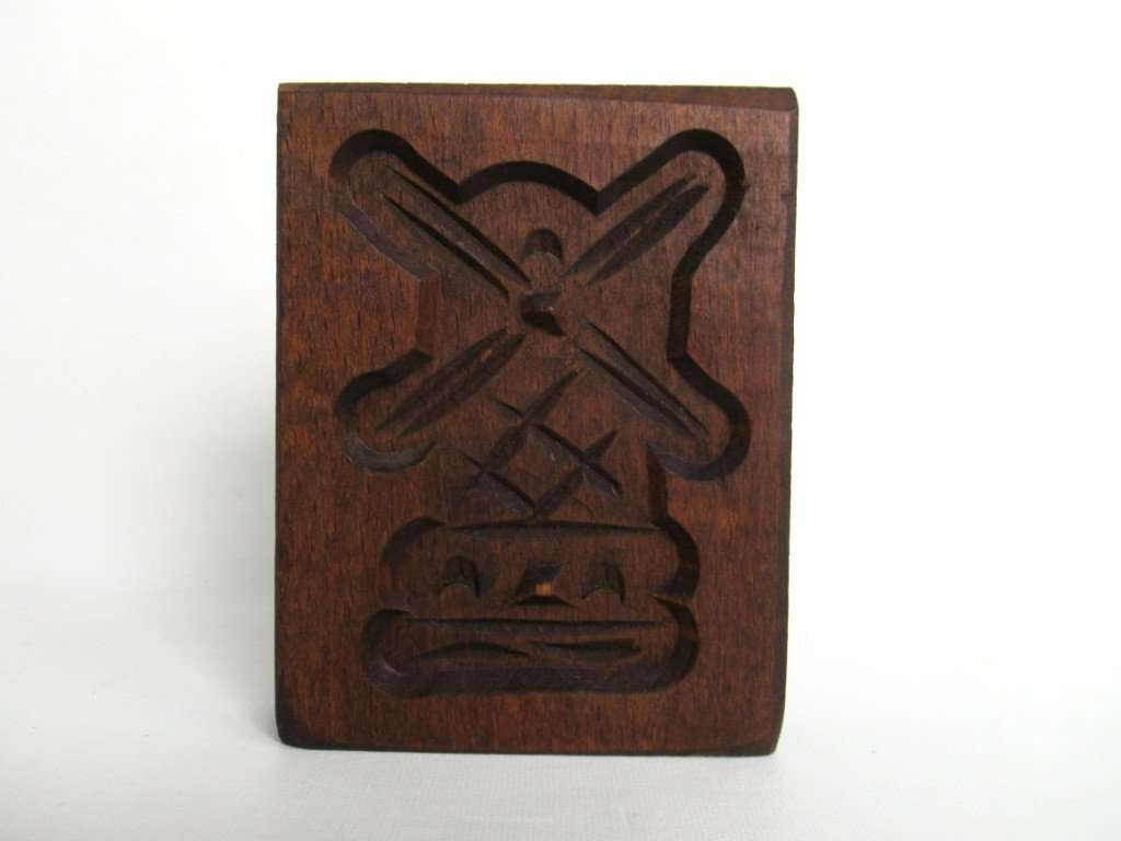 UpperDutch:Cookie Mold,Springerle, Vintage Small Windmill Wooden cookie mold.