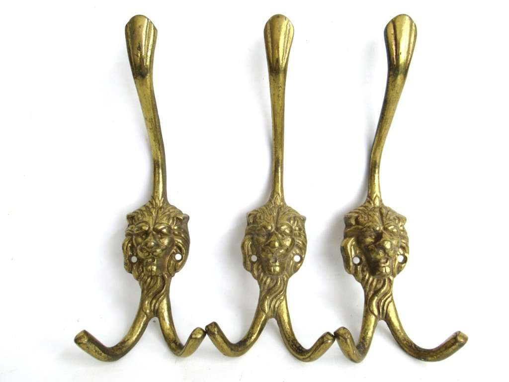 UpperDutch:Hooks and Hardware,Set of 3 Brass Lion Head Wall hooks