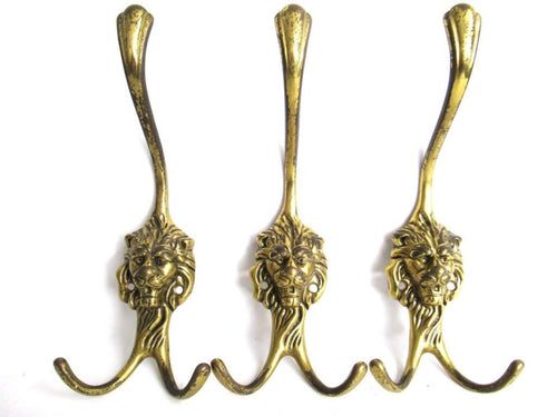 UpperDutch:Hooks and Hardware,Coat hooks, Set of 3 Brass Lion Head Wall hooks