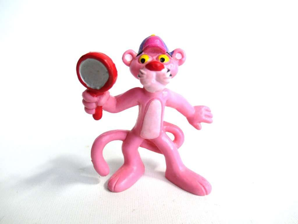 UpperDutch:Figurines,Pink Panther with magnifying glass Pvc Figurine Bully 1983 United Artists West Germany
