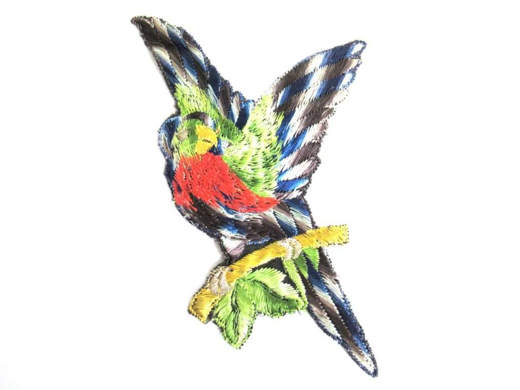 UpperDutch:Sewing Supplies,Bird Applique 1930s Vintage Embroidered Bird Parrot applique. Sewing supply.