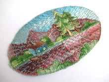 UpperDutch:Sewing Supplies,Scenery Landscape Applique, 1930s Antique Embroidered applique, application. Sewing supply