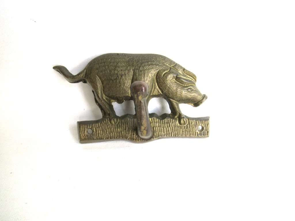 UpperDutch:Hooks and Hardware,Antique Pig Hook, Solid Brass Wall hook Coat hook, Kitchen hook, Towel hook.