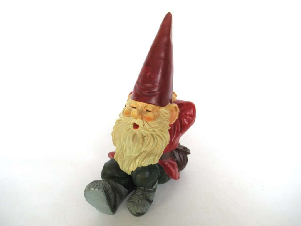 UpperDutch:Gnomes,Gnome Figurine, Gnome Lying down after a design by Rien Poortvliet, David the Gnome.
