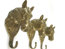 UpperDutch:Hooks and Hardware,Set of 3 pcs Solid Brass Horse Head Wall hooks, Coat hooks, Hanger, horse head.
