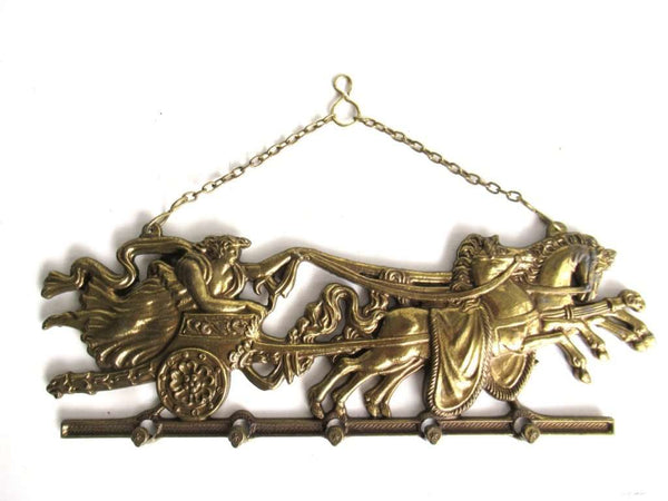 UpperDutch:Home and Decor,Stunning Equestrian Horses, Antique Brass wall hanging, Chariot and Horses. Wall rack, Key Holder.
