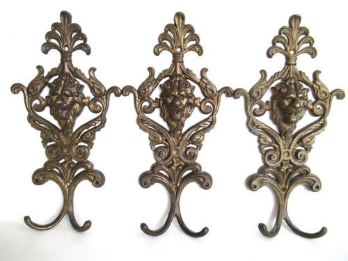 UpperDutch:Hooks and Hardware,Set of 3 Lion Coat Hooks, Vintage Antique Lion Head Coat Hook, Victorian style.