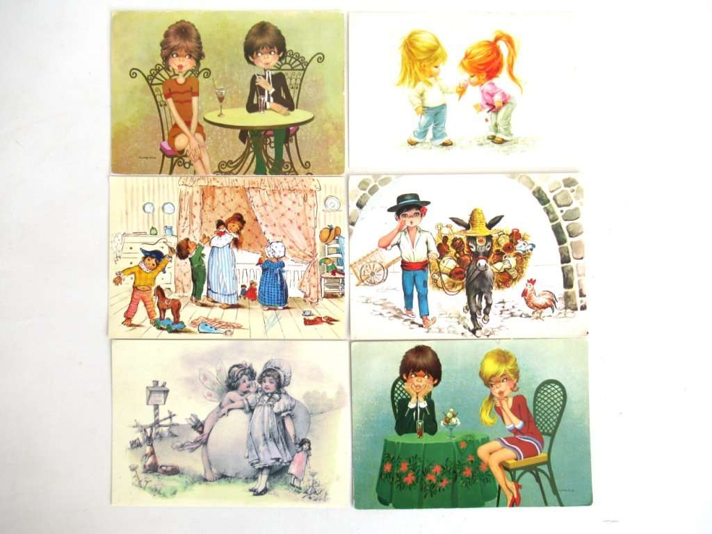 UpperDutch:Postcards,Vintage Postcards Seventies, Set of 6 Used Retro Cards 1970s.