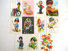 UpperDutch:Postcards,Vintage Postcards Seventies, Set of 11 Used Retro Cards 1970s.
