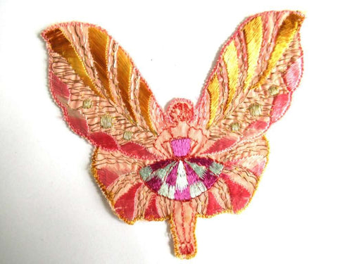 UpperDutch:Sewing Supplies,Antique Applique, fairy, butterfly applique, 1930s vintage embroidered applique. Vintage sewing supply.