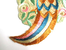 UpperDutch:Sewing Supplies,Bird of paradise, Antique Bird Applique, 1930s Embroidered Bird applique, application. Vintage sewing supply.