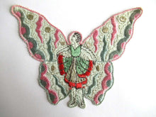 UpperDutch:Sewing Supplies,Antique Fairy Applique, butterfly applique, 1930s embroidered applique. Vintage patch, sewing supply, crazy quilt, antique.