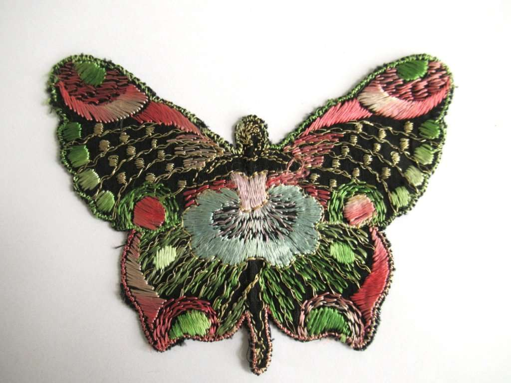 UpperDutch:Sewing Supplies,Fairy, Antique Applique, butterfly applique, 1930s embroidered applique. Vintage patch, sewing supply, crazy quilt, antique.