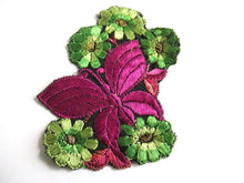 UpperDutch:Sewing Supplies,Butterfly Applique, 1930s vintage embroidered applique. Vintage floral sewing supply.