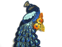 UpperDutch:Sewing Supplies,Peacock Applique, 1930s Antique Embroidered Peacock applique, application. Vintage bird sewing supply.