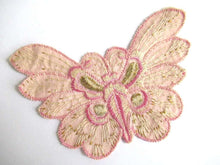 UpperDutch:Sewing Supplies,Pink Butterfly applique, 1930s vintage embroidered applique. Sewing supply. Applique, Crazy quilt