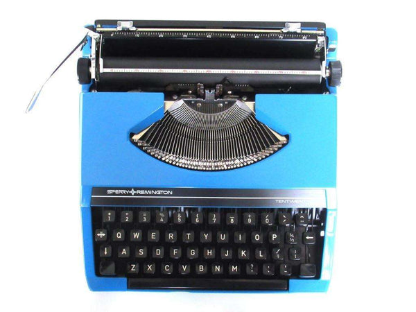 UpperDutch:Typewriter,Blue Typewriter 1970's Sperry Rand Remington Tentwenty, QWERTY keyboard. Working blue typewriter. Retro office decor, desk decor.